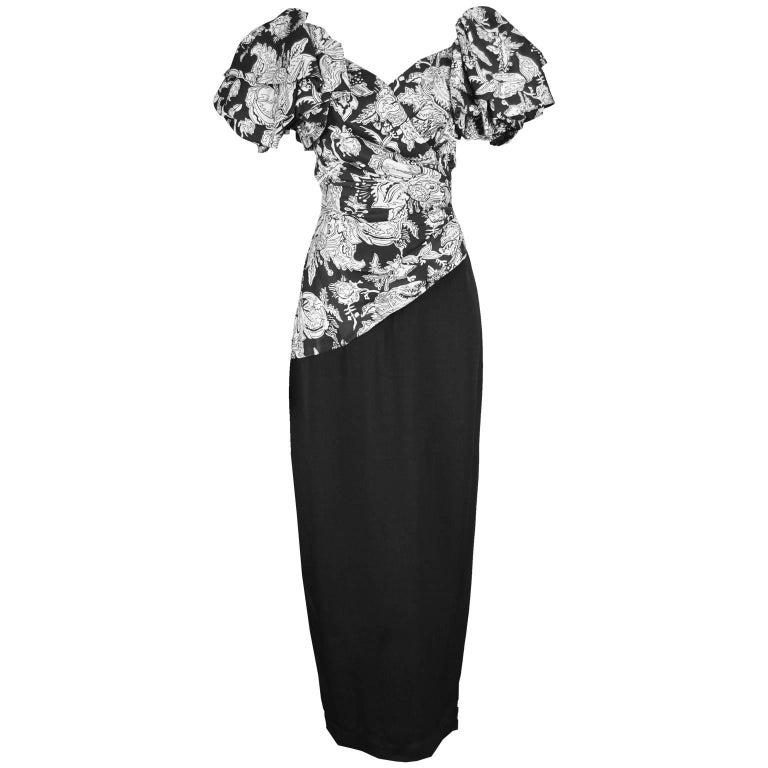 Mignon Vintage Black & White Floral Tiered Ruffle Sleeve Evening Gown, 1980s