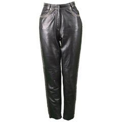 Gianni Versace Vintage Chain Embroidered Black Leather Pants, 1990s