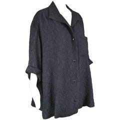 Christian Dior Haute Couture Black Silk Cloqué Vintage Trapeze Jacket, A/W 1985