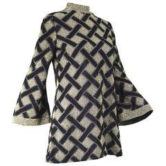 Pierre Balmain Black and Gold Lamé Vintage Tunic Top / Micro Dress, 1960s
