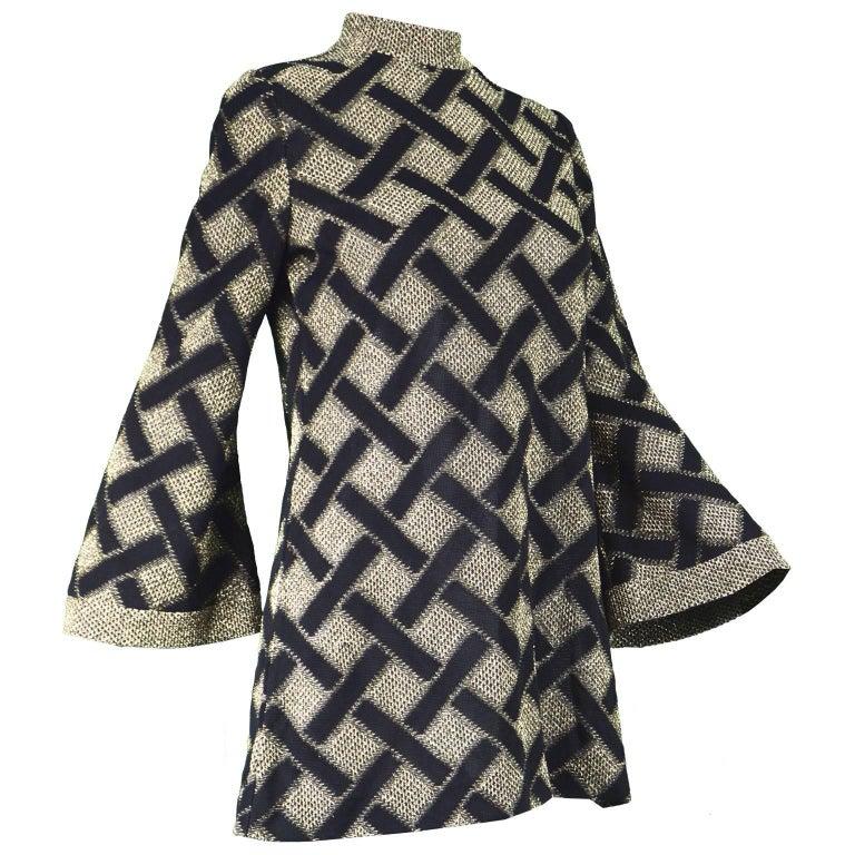 dfc29e1d45a Pierre Balmain Black and Gold Lamé Vintage Tunic Top / Micro Dress, 1960s  For Sale