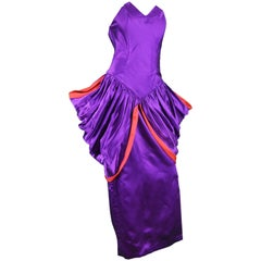 Yuki Architectural Purple & Red Silk Satin Couture Evening Dress, 1980s