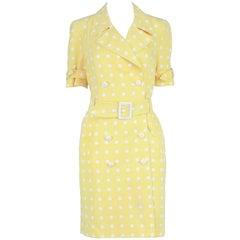 Escada Vintage Yellow & White Polka Dot Short Sleeve Trench Coat Dress, 1980s