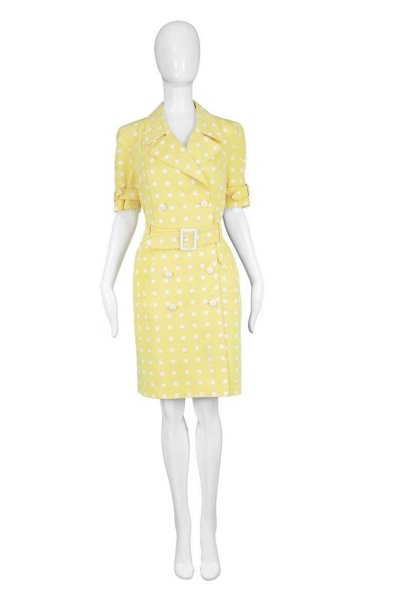 c11c15e23f67 Escada Vintage Yellow & White Polka Dot Short Sleeve Trenchcoat Dress,  1980s Estimated Size: