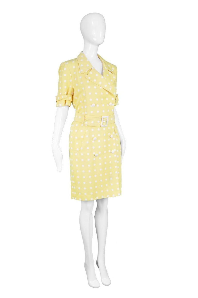 e6f83acf1382 Escada Vintage Yellow & White Polka Dot Short Sleeve Trench Coat Dress,  1980s For Sale