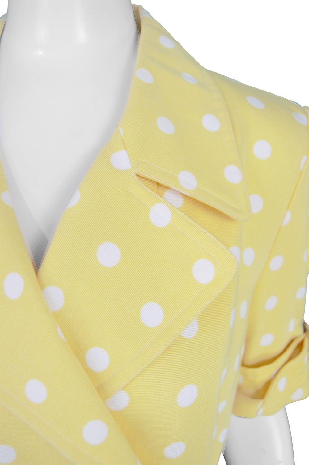 903fd728cf09 Escada Vintage Yellow and White Polka Dot Short Sleeve Trench Coat Dress,  1980s at 1stdibs