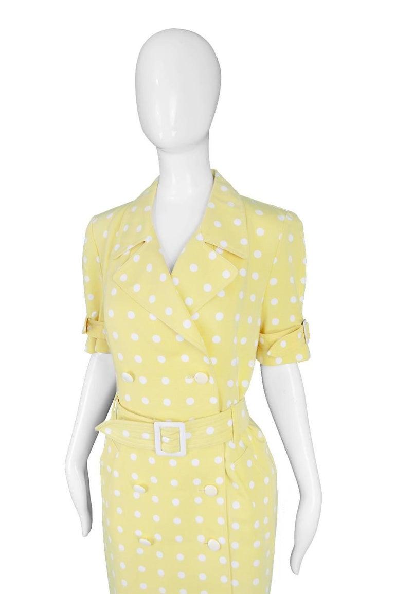 0ec7f59f2368 Escada Vintage Yellow & White Polka Dot Short Sleeve Trench Coat Dress,  1980s In Good