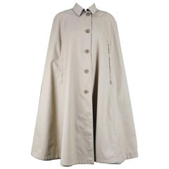 Burberry Vintage 1960s Reversible Trench Gabardine & Wool Plaid Cape Coat