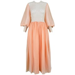 Anthony James Peach Chiffon & Macramé Balloon Sleeve Maxi Evening Gown, 1970s