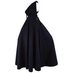Harrods Younger Set Vintage Tasselled Black Wool Cape Cloak, 1960s