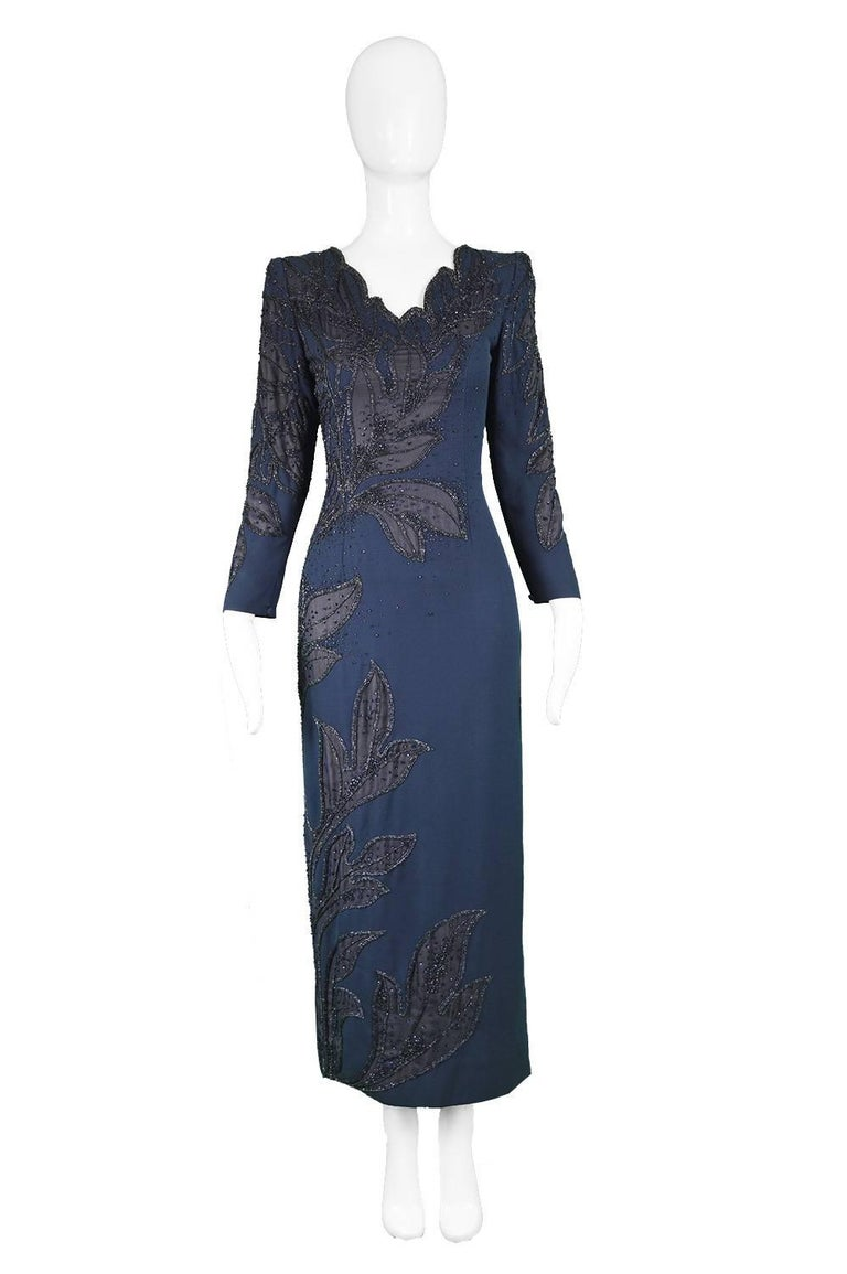 "Renato Balestra Italian Couture Vintage Heavily Beaded Evening Gown, 1980s   Estimated Size: UK 8/ US 4/ EU 36. Please check measurements.  Bust - 32"" / 81cm Waist - 26"" / 66cm Hips - 36"" / 91cm Length (Shoulder to Hem) - 53"" / 135cm Shoulder to"
