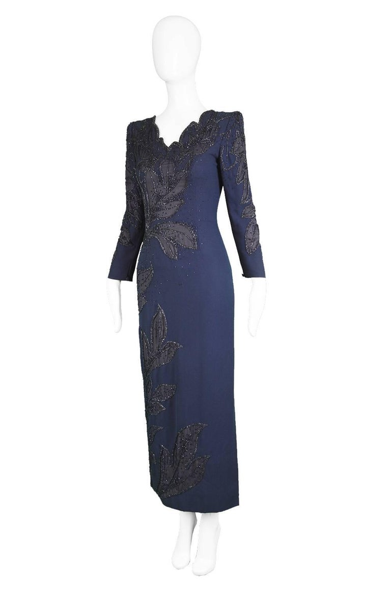 Renato Balestra Italian Haute Couture Vintage Beaded Evening Dress, 1980s  In Excellent Condition For Sale In Doncaster, South Yorkshire