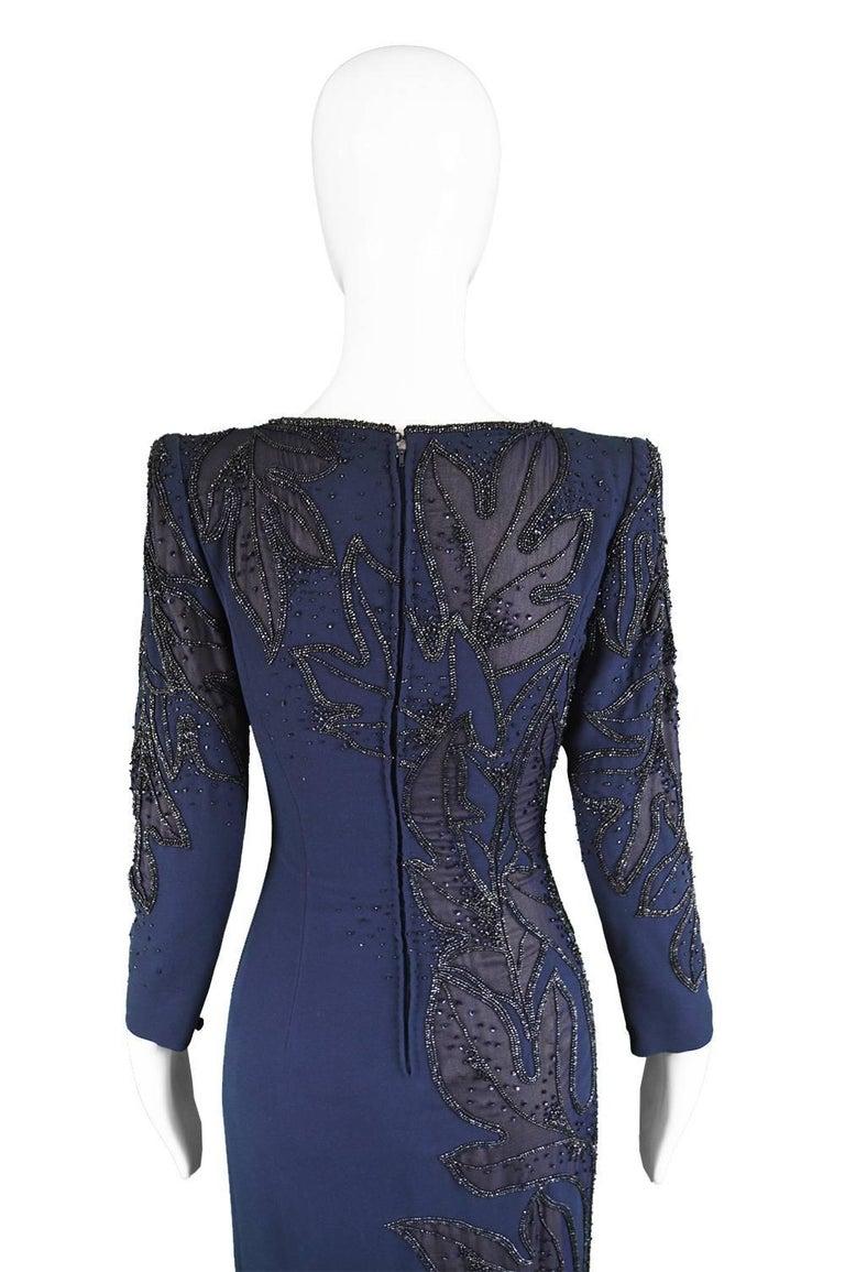 Renato Balestra Italian Haute Couture Vintage Beaded Evening Dress, 1980s  For Sale 3