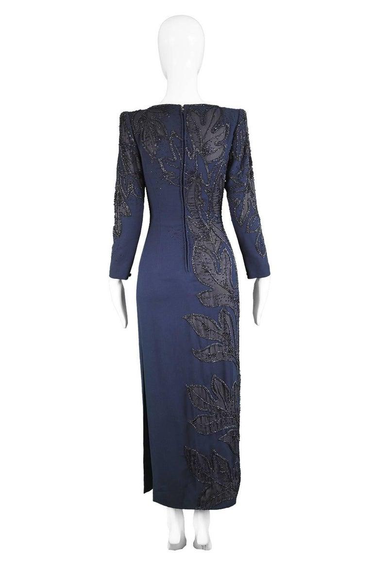 Renato Balestra Italian Haute Couture Vintage Beaded Evening Dress, 1980s  For Sale 4