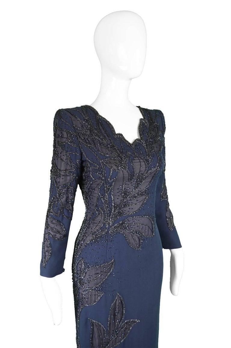 Renato Balestra Italian Haute Couture Vintage Beaded Evening Dress, 1980s  For Sale 2
