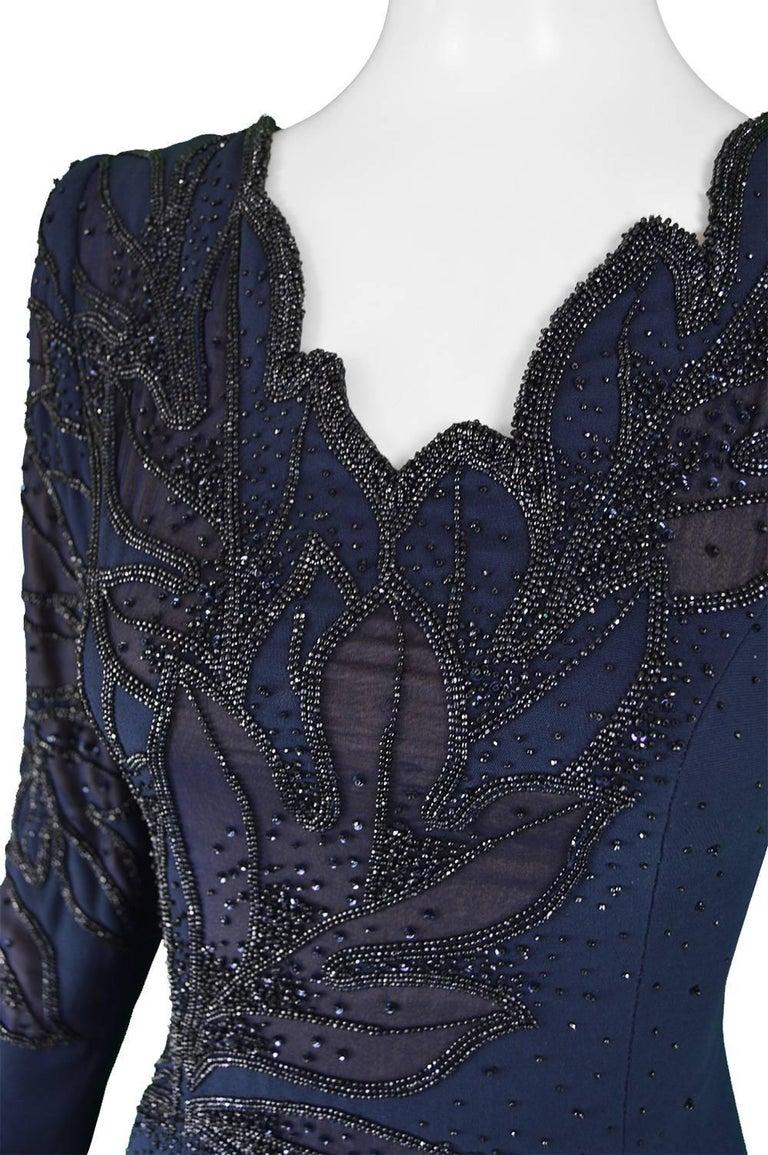 Renato Balestra Italian Haute Couture Vintage Beaded Evening Dress, 1980s  For Sale 1