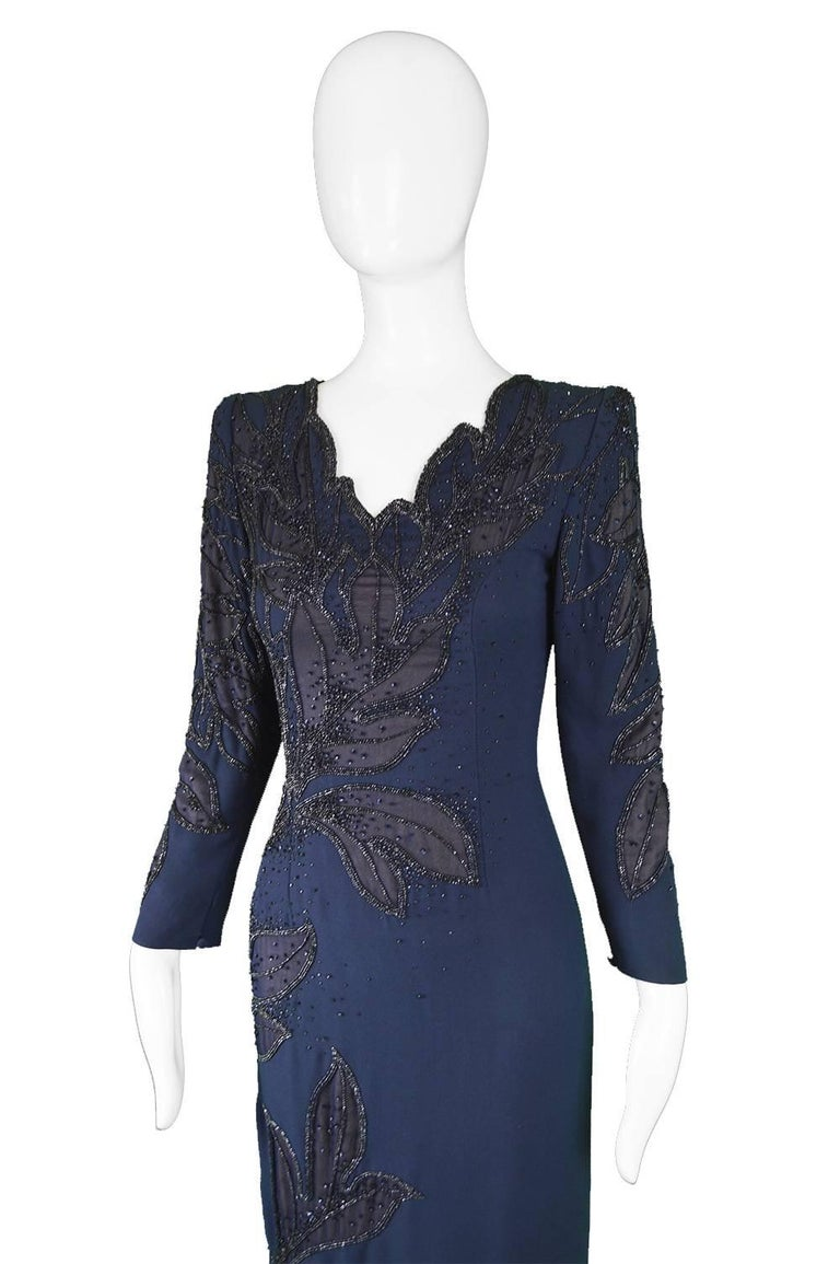 Women's Renato Balestra Italian Haute Couture Vintage Beaded Evening Dress, 1980s  For Sale
