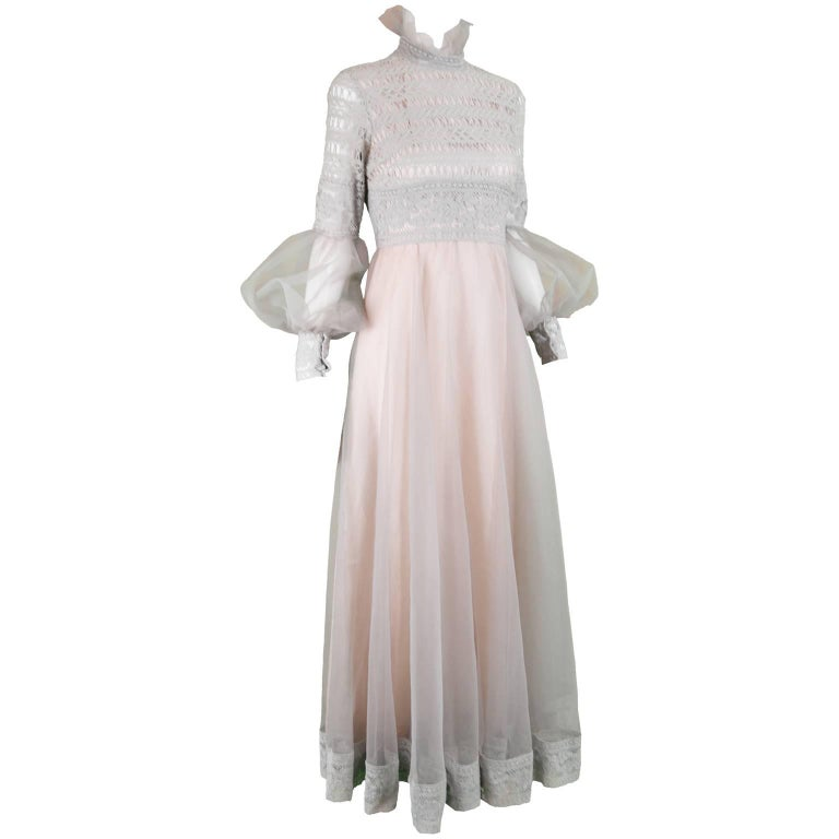 Jean Varon Vintage Gray & Pastel Pink Lace and Organza Evening Dress, 1970s