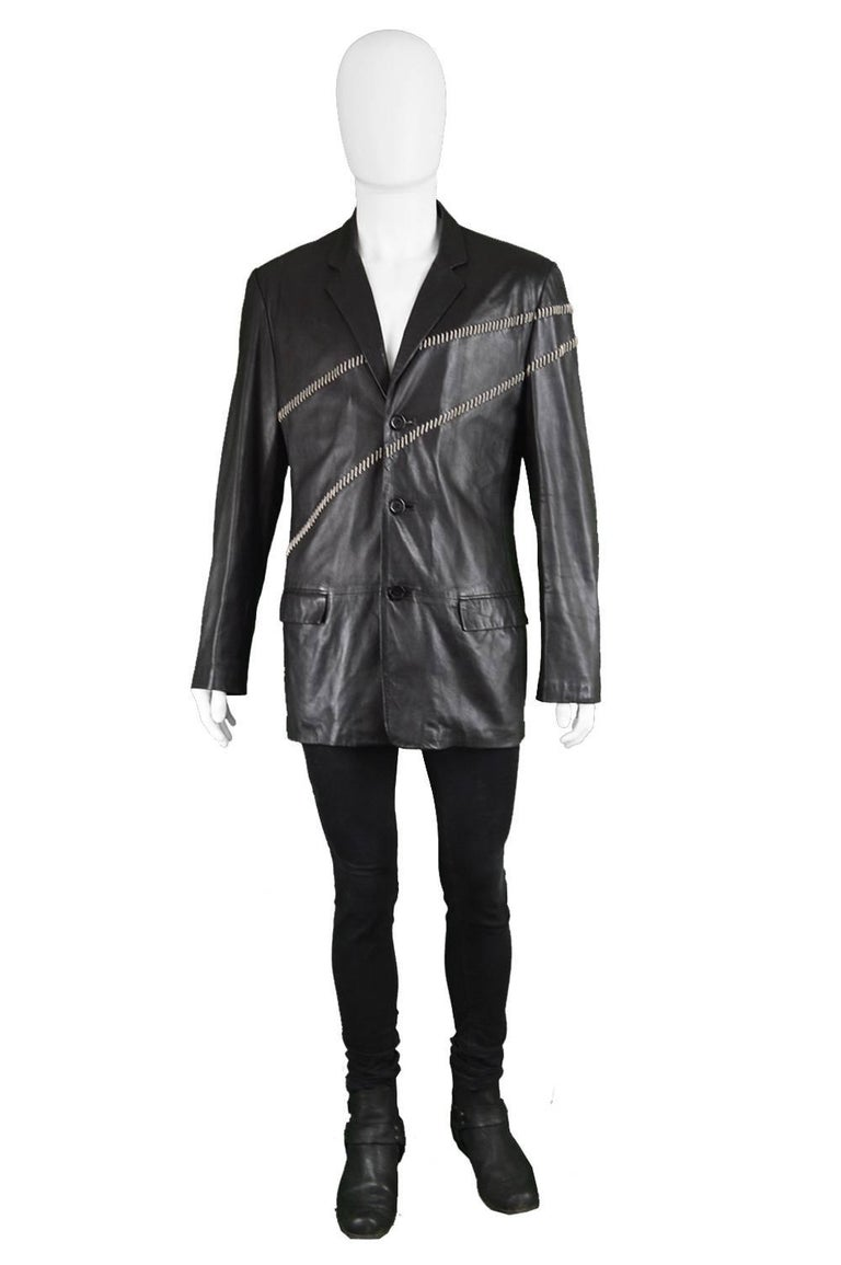 """Gianni Versace Vintage Men's Leather Chain Embroidered Blazer Jacket, 1990s  Size: Marked EU 50 which is roughly a men's Medium. Please check measurements. Chest - 42"""" / 106cm (allow a couple of inches room for movement) Waist - 38"""" / 96cm Length"""