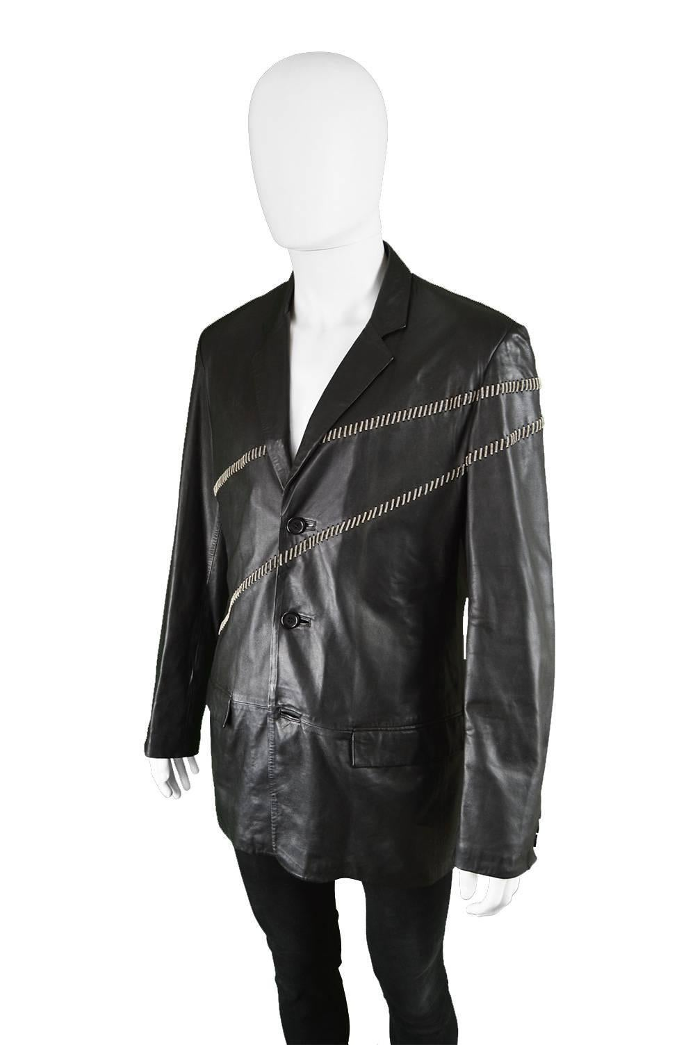 Gianni Versace Vintage Men's Leather Chain Embroidered Blazer Jacket, 1990s