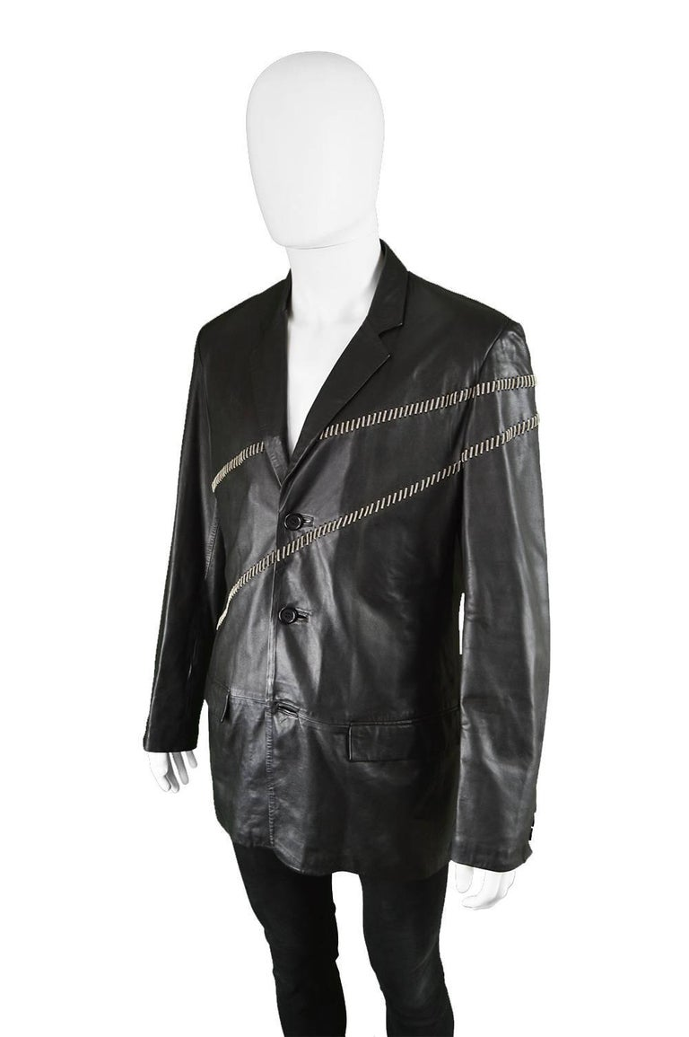Gianni Versace Vintage Men's Leather Chain Embroidered Blazer Jacket, 1990s For Sale 1