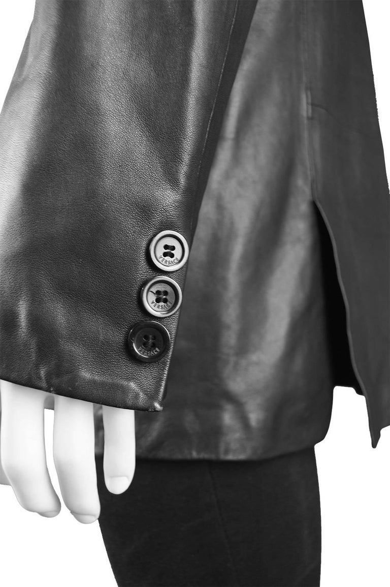 Gianni Versace Vintage Men's Leather Chain Embroidered Blazer Jacket, 1990s For Sale 4
