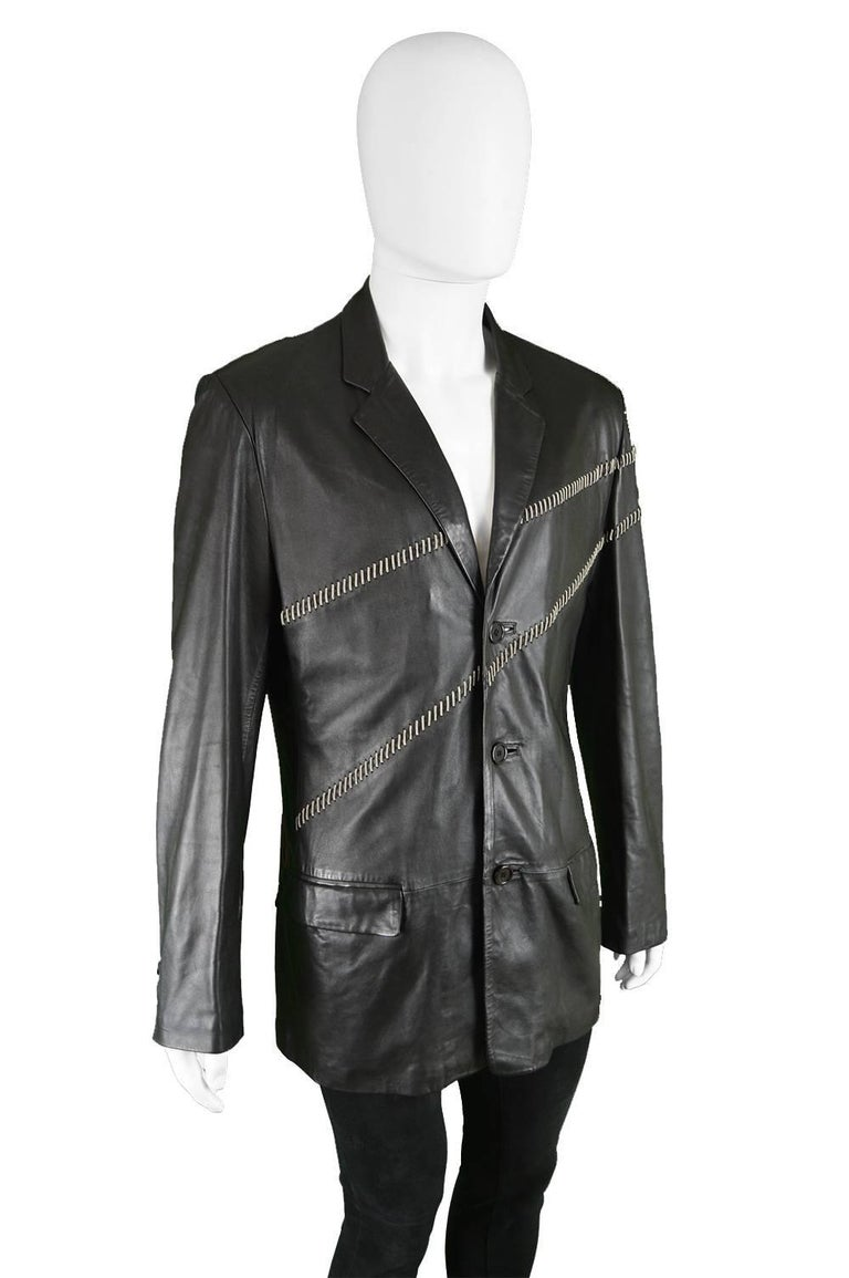 Gianni Versace Vintage Men's Leather Chain Embroidered Blazer Jacket, 1990s In Good Condition For Sale In Doncaster, South Yorkshire