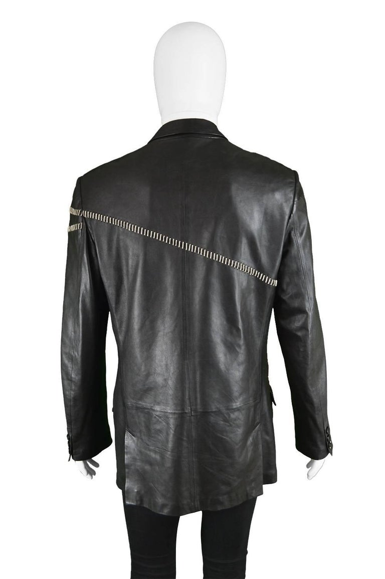 Gianni Versace Vintage Men's Leather Chain Embroidered Blazer Jacket, 1990s For Sale 3