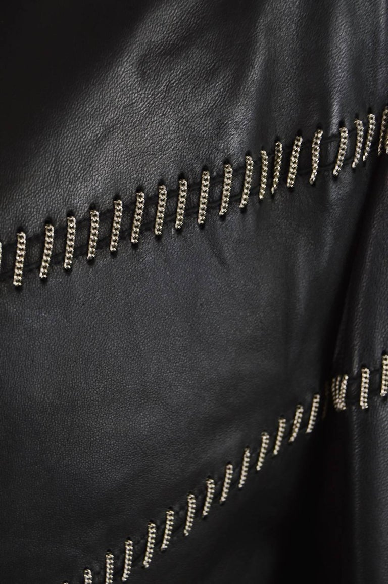 Black Gianni Versace Vintage Men's Leather Chain Embroidered Blazer Jacket, 1990s For Sale