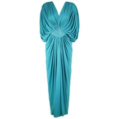 Marjon Couture Vintage Turquoise Jersey Grecian Goddess Dress, 1970s