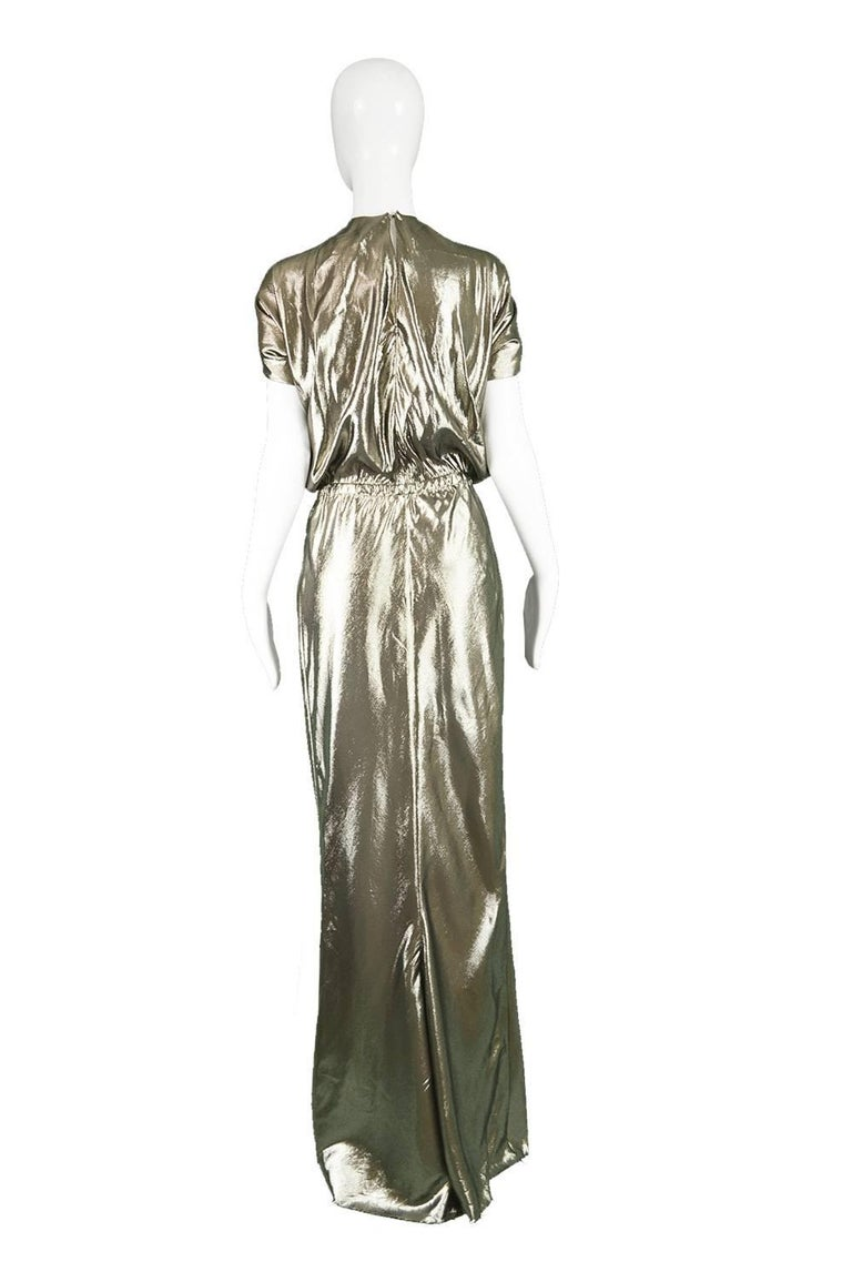 Lanvin Silk Metallic Gold Lamé Floor Length Evening Gown, 2014 at ...