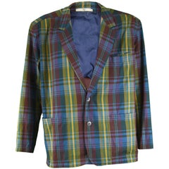 Valentino Men's Oversized Vintage Cotton Plaid Check Blazer Jacket, 1980s