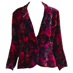 Celine Vintage Floral Print Silk Velvet Evening Jacket, 1980s
