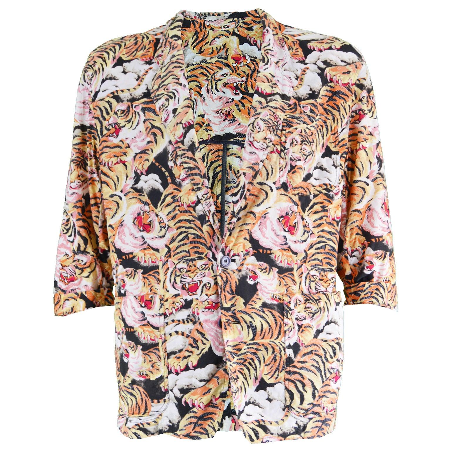 ee7542ff Kenzo Men's Vintage Iconic Flying Tiger Print Cotton Blazer Jacket, 1980s  For Sale at 1stdibs