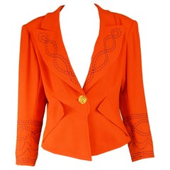 Christian Lacroix Vintage Orange Wool Blazer with Running Stitch Detail, 1980s