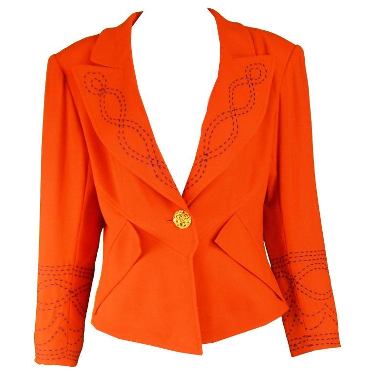 Christian Lacroix Vintage Orange Wool Blazer with Running Stitch Detail, 1980s For Sale
