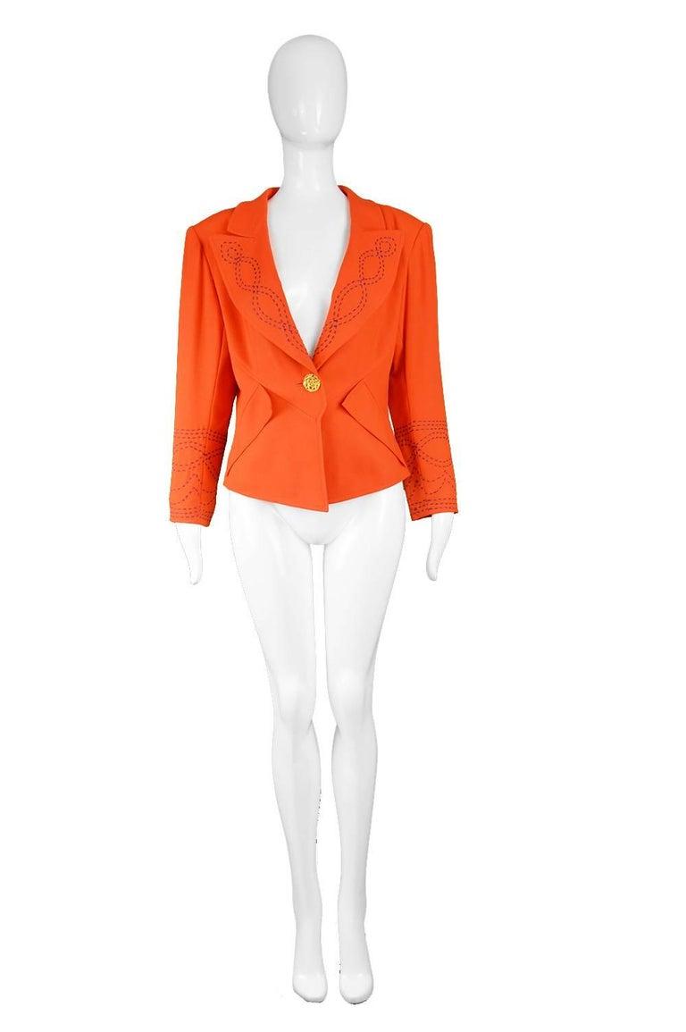 "Christian Lacroix Vintage Orange Wool Blazer with Running Stitch Detail, 1980s  Estimated Size: UK 14-16/ US 10-12/ EU 42-44. Please check measurements.  Bust - 40"" / 101cm Waist - 34"" / 86cm Length (Shoulder to Hem) - 20"" / 51cm Shoulder to"