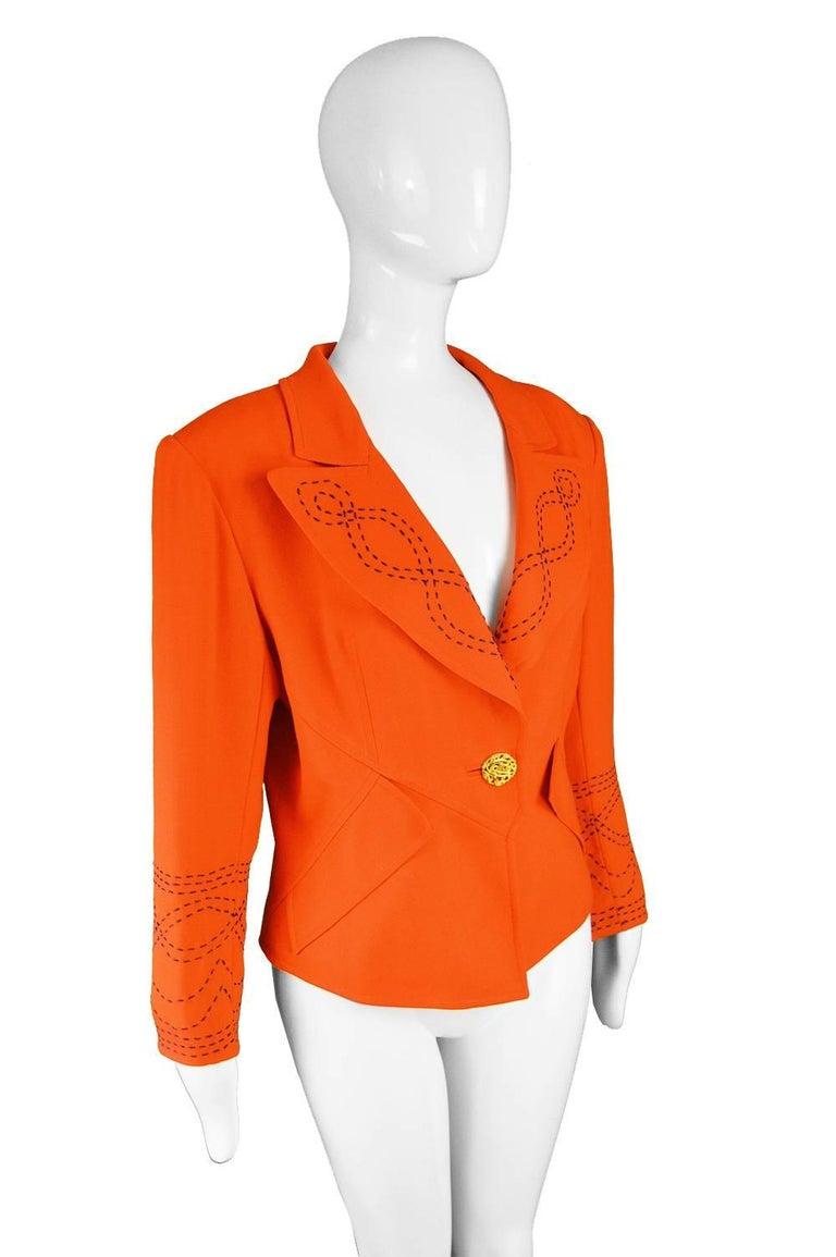 Christian Lacroix Vintage Orange Wool Blazer with Running Stitch Detail, 1980s For Sale 1