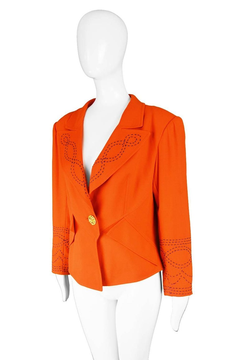 Christian Lacroix Vintage Orange Wool Blazer with Running Stitch Detail, 1980s In Excellent Condition For Sale In Doncaster, South Yorkshire