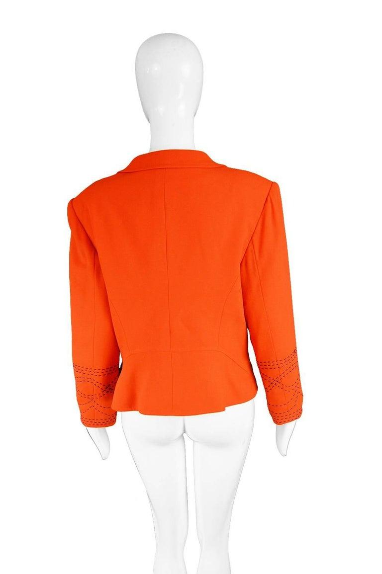 Christian Lacroix Vintage Orange Wool Blazer with Running Stitch Detail, 1980s For Sale 2