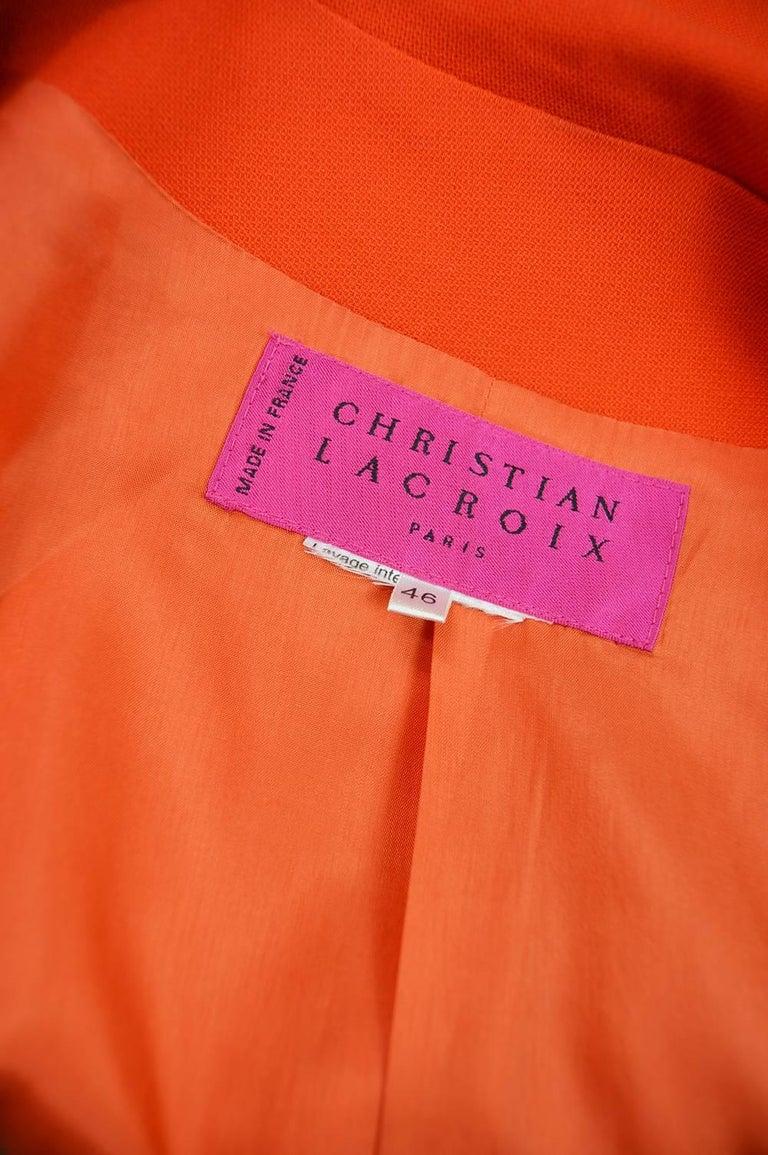 Christian Lacroix Vintage Orange Wool Blazer with Running Stitch Detail, 1980s For Sale 3