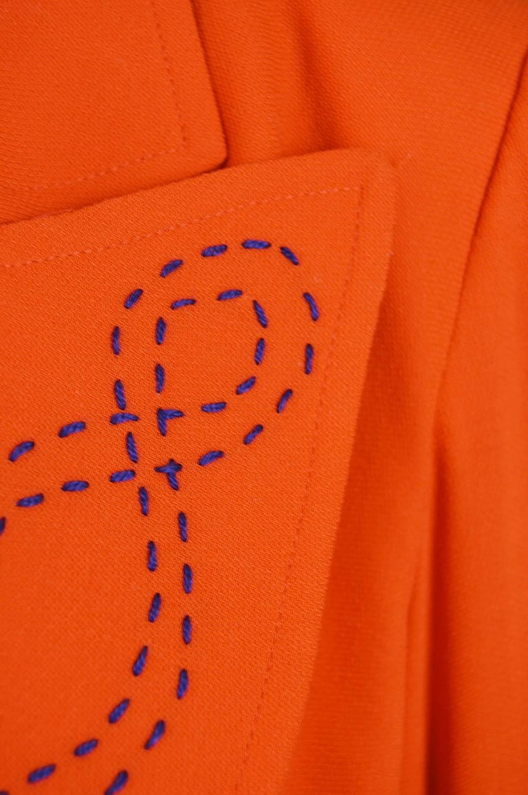 Red Christian Lacroix Vintage Orange Wool Blazer with Running Stitch Detail, 1980s For Sale