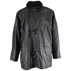 Gianni Versace Istante Men's Leather & Shearling Zeus Head Duffel Coat, 1990s