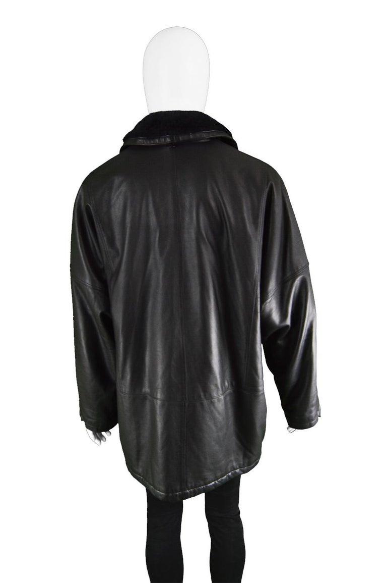 Gianni Versace Istante Men's Leather & Shearling Zeus Head Duffel Coat, 1990s For Sale 5