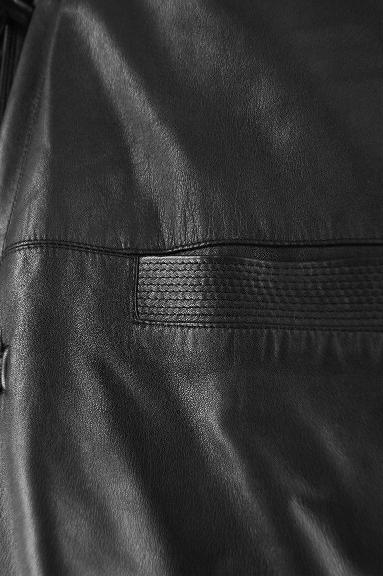 Gianni Versace Istante Men's Leather & Shearling Zeus Head Duffel Coat, 1990s For Sale 4