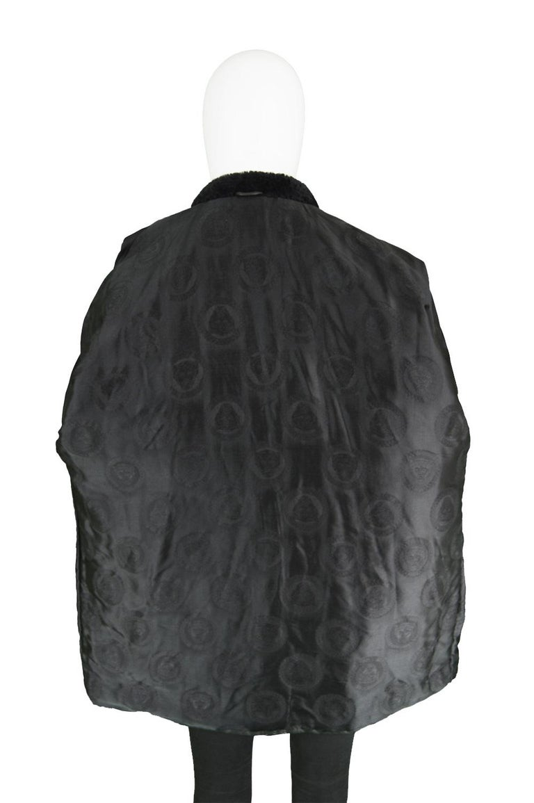 Gianni Versace Istante Men's Leather & Shearling Zeus Head Duffel Coat, 1990s For Sale 7