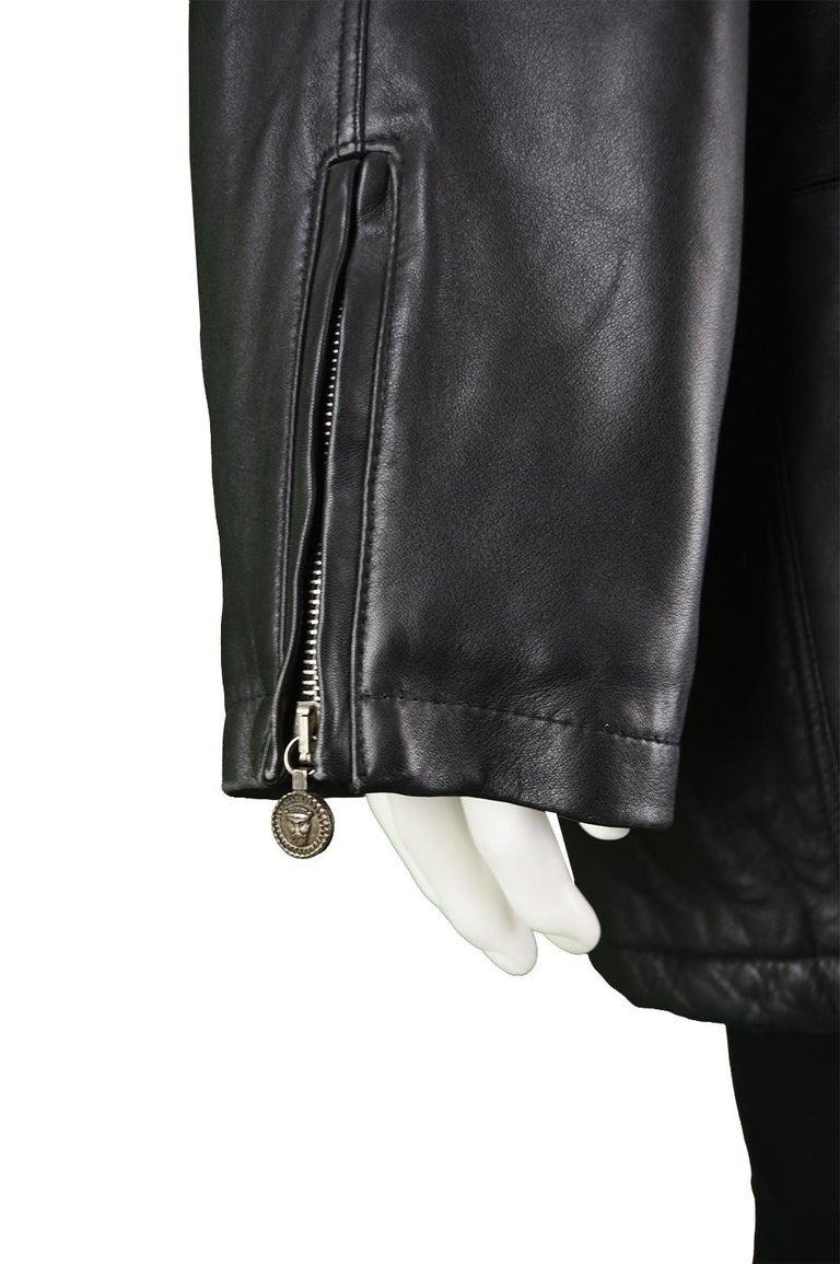 Gianni Versace Istante Men's Leather & Shearling Zeus Head Duffel Coat, 1990s For Sale 6