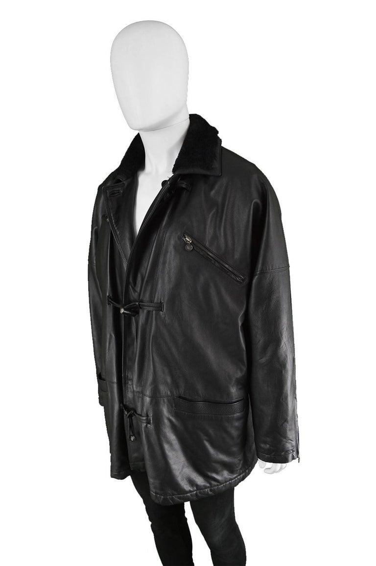 Gianni Versace Istante Men's Leather & Shearling Zeus Head Duffel Coat, 1990s For Sale 2