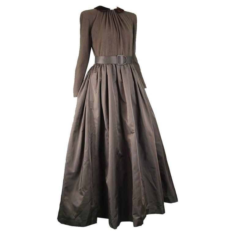 Oscar de La Renta Brown Cashmere Knit and Silk Taffeta Evening Gown ...