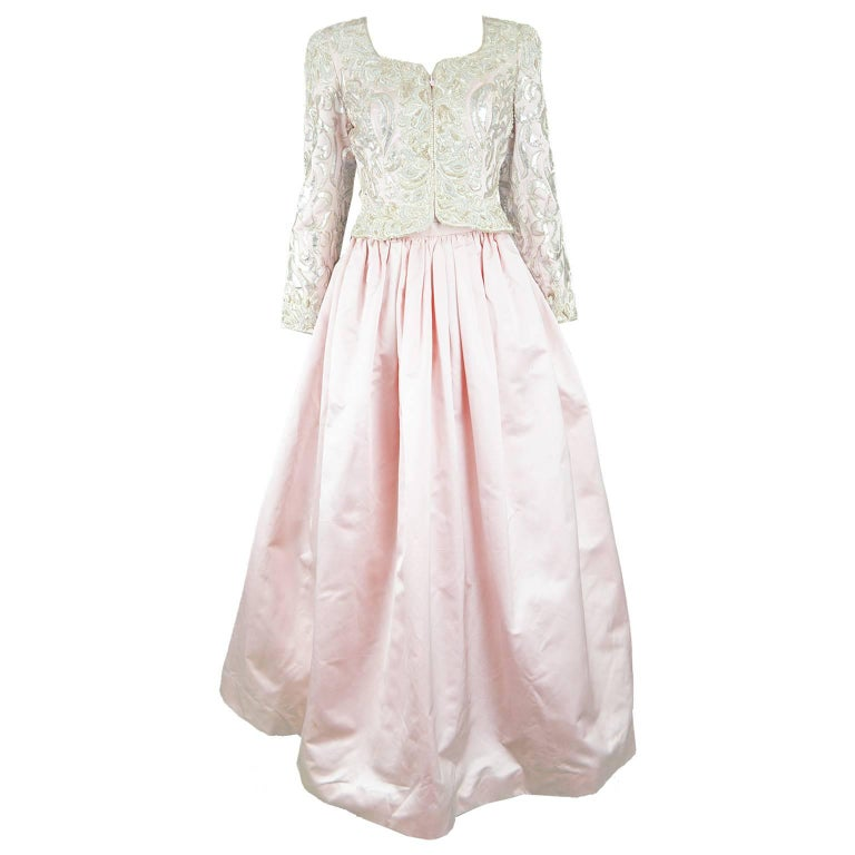 Oscar de la Renta Pink Silk Satin and Embroidered Leather Appliqué Evening Set